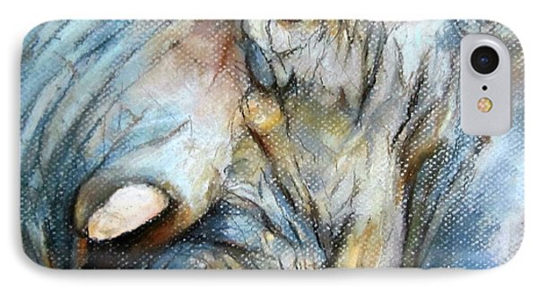 IPhone Case featuring the painting Elephant Eye by Jieming Wang