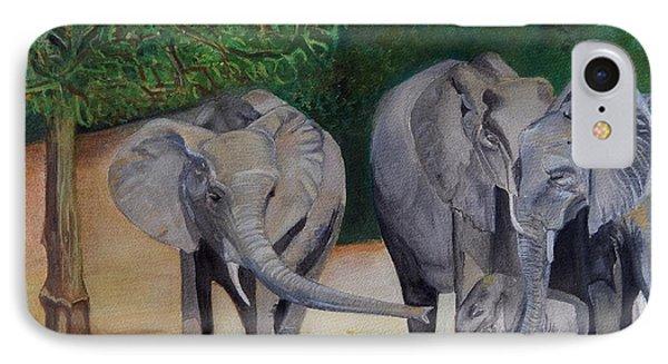 Elephant Family Gathering IPhone Case by Caroline Street