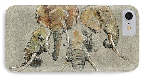Elephant Heads IPhone Case by Juan  Bosco