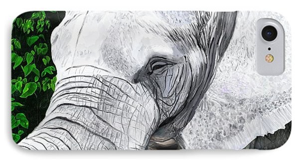 IPhone Case featuring the painting Elephant II by Jeanne Fischer
