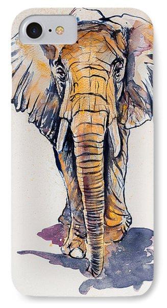 Elephant In Gold IPhone 7 Case by Kovacs Anna Brigitta