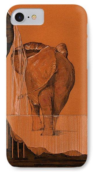 Elephant In River IPhone Case by Juan  Bosco