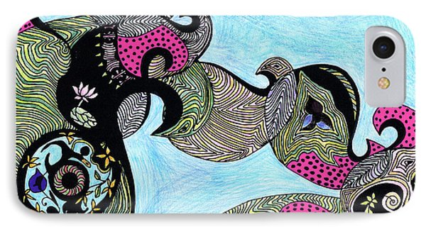 Elephant Lotus And Bird Design Phone Case by Mukta Gupta