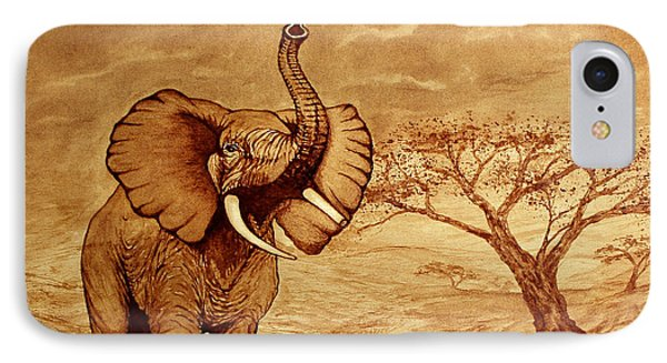 IPhone Case featuring the painting Elephant Majesty Original Coffee Painting by Georgeta  Blanaru