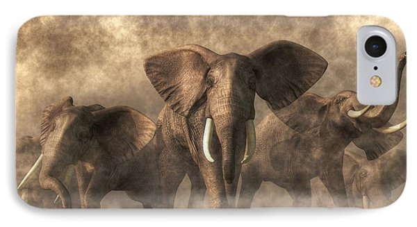 Elephant Stampede IPhone Case by Daniel Eskridge