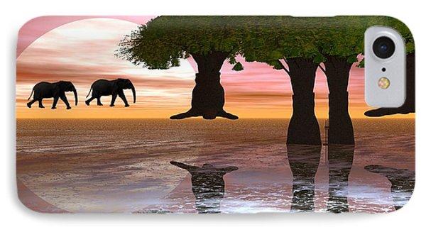 IPhone Case featuring the digital art Elephant Walk by Jacqueline Lloyd