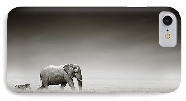 Elephant With Zebra IPhone Case by Johan Swanepoel