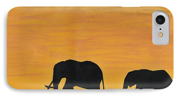 Elephants - At - Sunset IPhone Case by D Hackett
