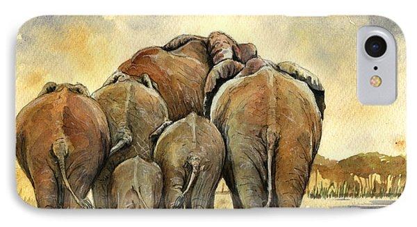 Elephants Herd IPhone Case by Juan  Bosco