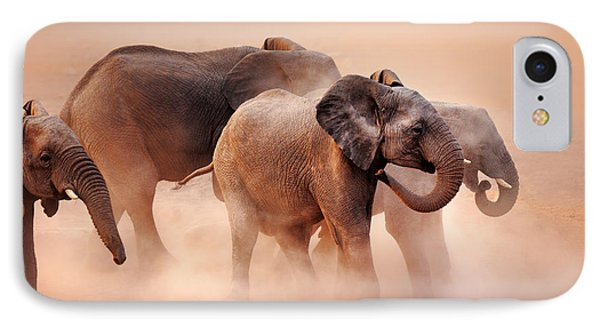 Elephants In Dust IPhone Case by Johan Swanepoel