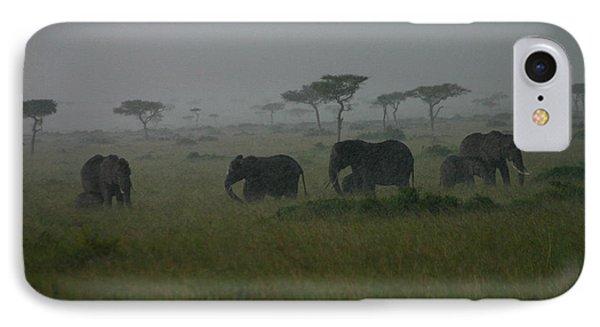 Elephants In Heavy Rain IPhone Case by Menachem Ganon