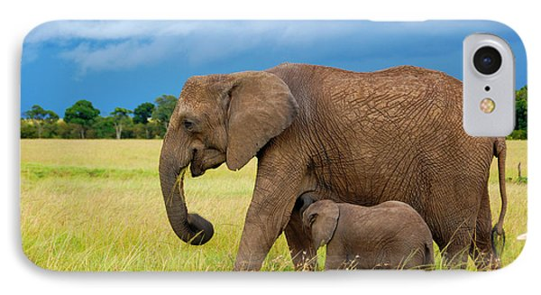 Elephants In Masai Mara IPhone Case by Charuhas Images