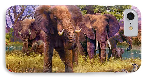 Meerkat iPhone 7 Case - Elephants by Jan Patrik Krasny