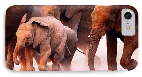 Elephants Stampede IPhone Case by Johan Swanepoel