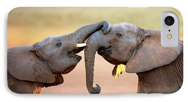 Elephants Touching Each Other IPhone Case by Johan Swanepoel