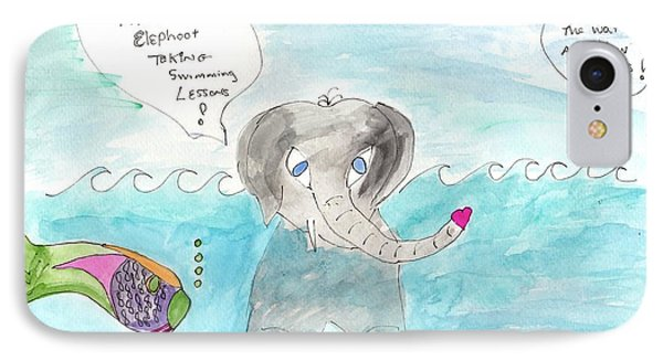 Elephoot Swim Lesson IPhone Case by Helen Holden-Gladsky