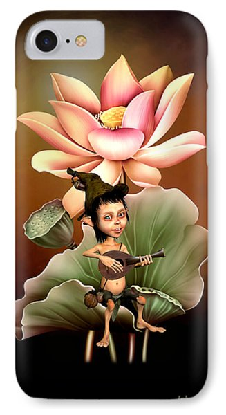 Elf Playing The Lute IPhone Case by John Junek