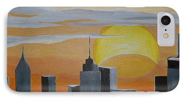 IPhone Case featuring the painting Elipse At Sunrise by Donna Blossom