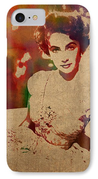 Elizabeth Taylor Watercolor Portrait On Worn Distressed Canvas IPhone Case by Design Turnpike