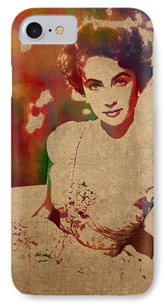 Elizabeth Taylor Watercolor Portrait On Worn Distressed Canvas IPhone 7 Case