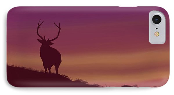 IPhone Case featuring the digital art Elk At Dusk by Terry Frederick