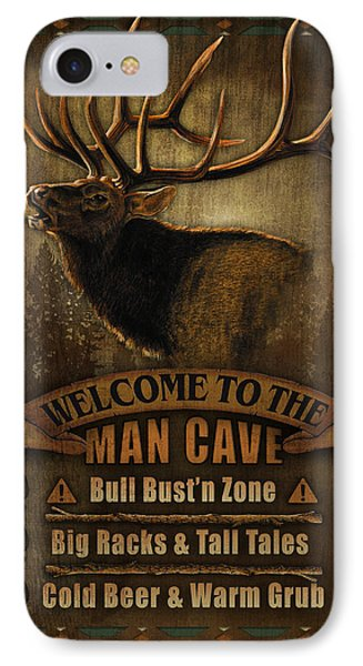 Elk Man Cave Sign IPhone Case by JQ Licensing