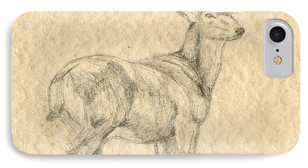 IPhone Case featuring the drawing Elk by Mary Ellen Anderson