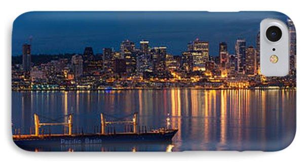 Elliott Bay Seattle Skyline Night Reflections  IPhone 7 Case by Mike Reid