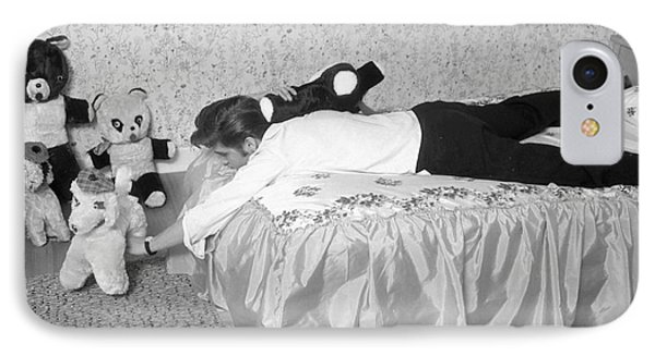 Elvis Presley At Home With His Teddy Bears 1956 IPhone Case by The Harrington Collection