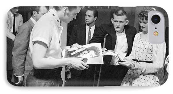 Elvis Presley Backstage Signing Autographs For Fans 1956 IPhone Case by The Harrington Collection