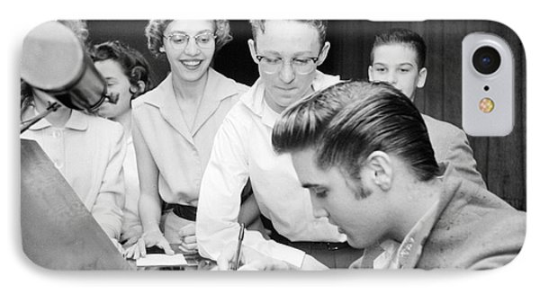 Elvis Presley Signing Autographs For Fans 1956 IPhone Case by The Harrington Collection