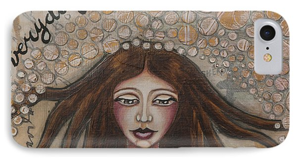 IPhone Case featuring the mixed media Embrace Everyday Adventure Inspirational Mixed Media Folk Art by Stanka Vukelic