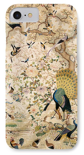 Embroidered Panel With A Pair Of Peacocks And Numerous Other Birds IPhone Case by Chinese School