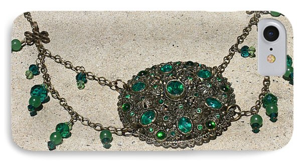 Emerald Vintage New England Glass Works Brooch Necklace 3632 IPhone Case