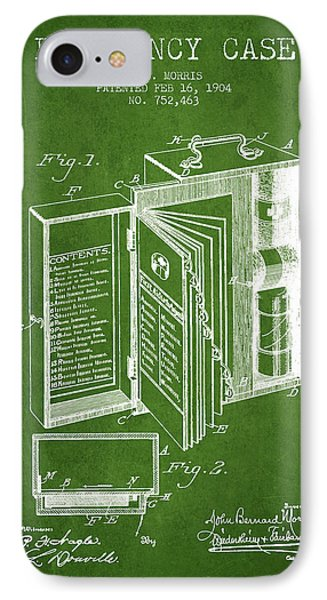 Emergency Case Patent From 1904 - Green IPhone Case by Aged Pixel