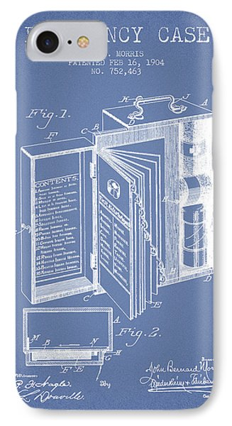 Emergency Case Patent From 1904 - Light Blue IPhone Case by Aged Pixel