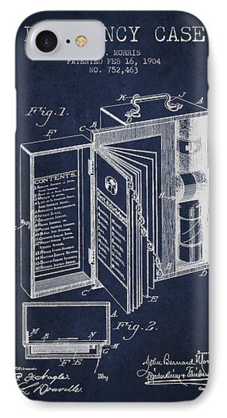 Emergency Case Patent From 1904 - Navy Blue IPhone Case by Aged Pixel