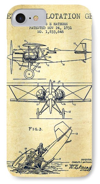 Emergency Flotation Gear Patent Drawing From 1931-vintage IPhone Case by Aged Pixel