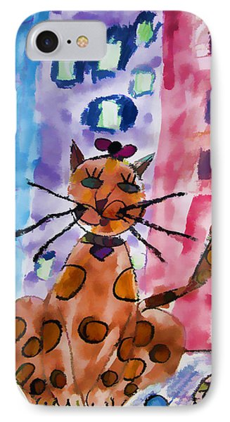 Emma's Spotted Kitty IPhone Case by Alice Gipson