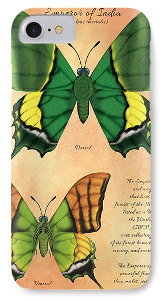 Emperor Of India Butterfly Phone Case by Tammy Yee