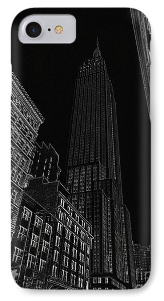 Empire Nyc White On Black Phone Case by Meandering Photography