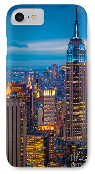 City Scenes iPhone 7 Case - Empire State Blue Night by Inge Johnsson