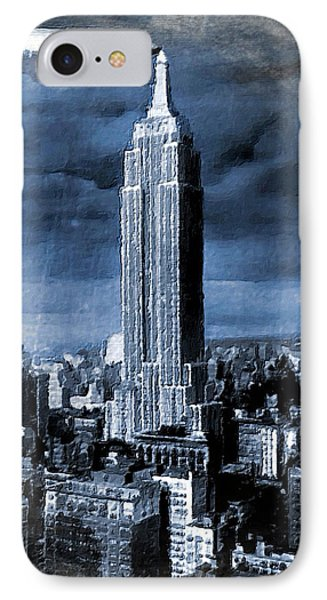 Empire State Building Blimp Docking Blue IPhone Case by Tony Rubino