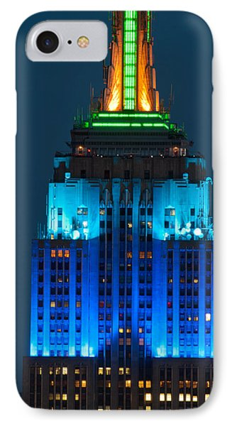 Empire State Building Lit Up At Night IPhone Case by Panoramic Images