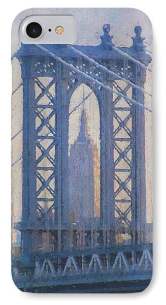 Empire State Building Through The Manhattan Bridge IPhone Case by Jean-Pierre Ducondi