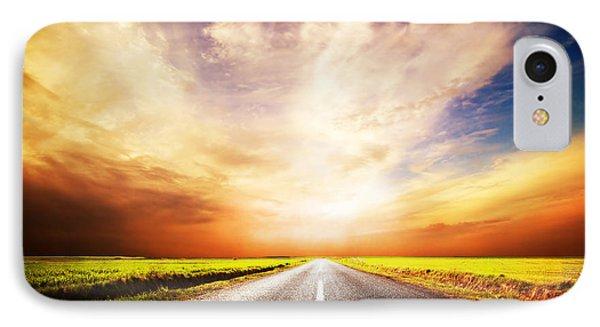 Empty Asphalt Road. Sunset Sky IPhone Case by Michal Bednarek