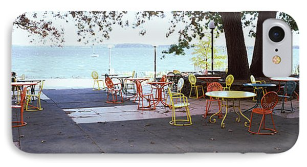 Empty Chairs With Tables In A Campus IPhone Case by Panoramic Images