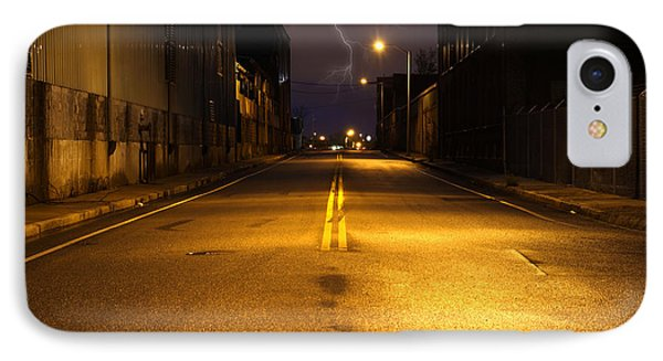 Empty City Street At Night With Lighting Strike Phone Case by Denis Tangney Jr