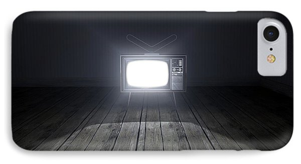 Empty Room With Illuminated Television IPhone Case