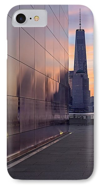Empty Sky Memorial And Freedom Tower Sunrise IPhone Case by Susan Candelario